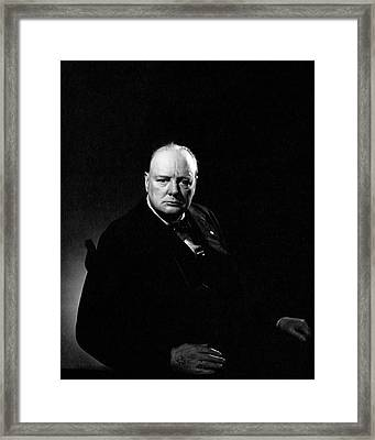 Portrait Of Winston Churchill Framed Print
