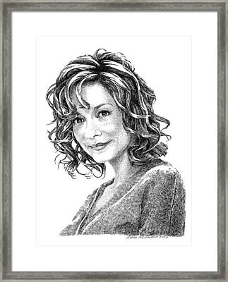 Portrait Of Woman. Stippling In Ink. Framed Print