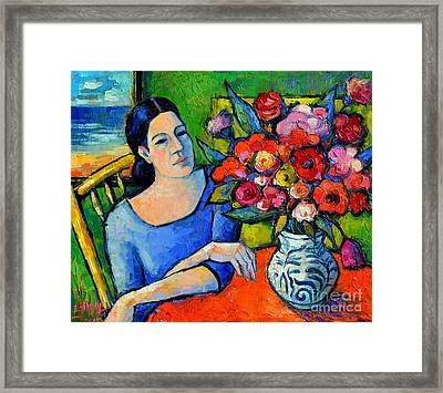 Portrait Of Woman With Flowers Framed Print by Mona Edulesco