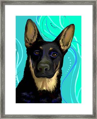Portrait Of A German Shepherd Dog Framed Print by Karon Melillo DeVega