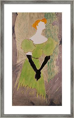 Portrait Of Yvette Guilbert Framed Print by Henri de Toulouse-Lautrec