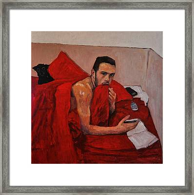 Portrait On Bed Framed Print by Roberto Del Frate