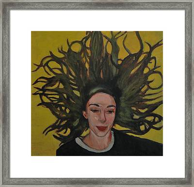 Portrait On Yellow Framed Print by Roberto Del Frate