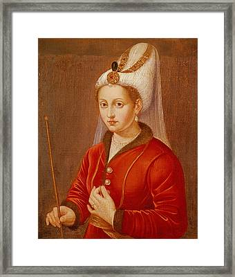 Portrait Presumed To Be Catherine Cornaro, Queen Of Cyprus, C.1470 Oil On Canvas Framed Print