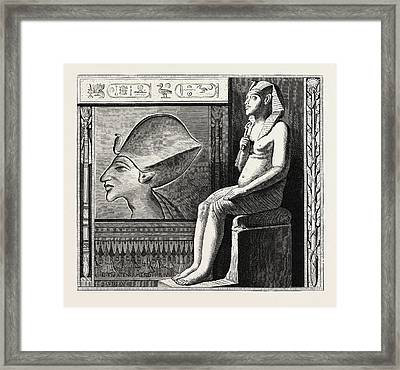 Portrait Statue And Relief Of The Fanatical King Amenophis Framed Print by Litz Collection