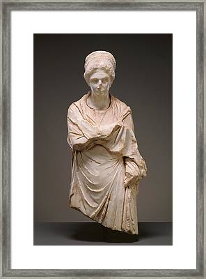 Portrait Statue Of A Woman Unknown Possibly Cyme Framed Print by Litz Collection