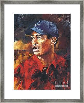 Portrait - Tiger Woods Framed Print by Christiaan Bekker