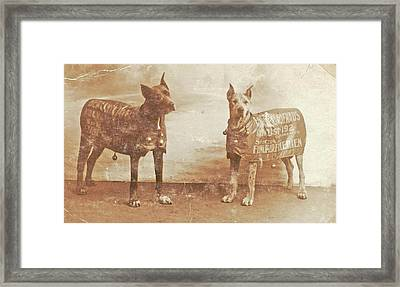 Portrait Two Dogs Toymaker With Advertising Copy Framed Print by Artokoloro