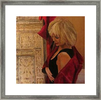 Portrait With Screen Framed Print by Roberto Del Frate