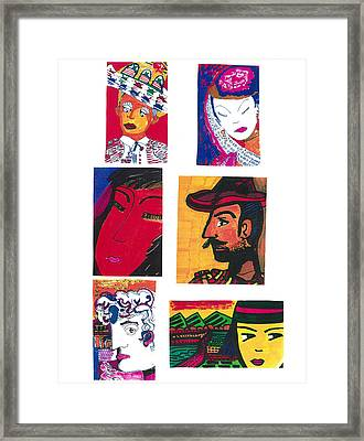 Framed Print featuring the drawing Portraits International by Don Koester