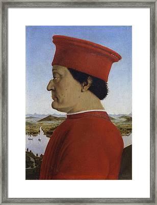 Portraits Of The Duke And Duchess Of Urbino Framed Print by Piero della Francesca