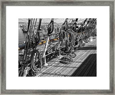 Portside Rail Of Three-masted Schooner - San Francisco Framed Print by Daniel Hagerman