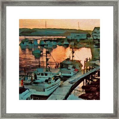 Portsmouth Harbor Boats At Sunset - Square Framed Print