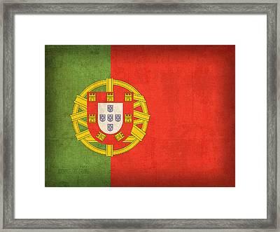 Portugal Flag Vintage Distressed Finish Framed Print by Design Turnpike
