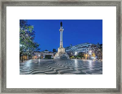 Portugal, Lisbon, Rossio Square At Dawn Framed Print