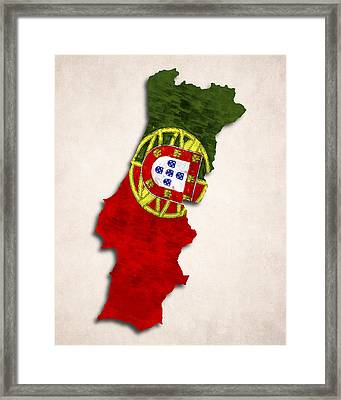 Portugal Map Art With Flag Design Framed Print by World Art Prints And Designs