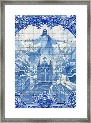 Portugal, Porto Mosaic On Side Of Santo Framed Print by Jaynes Gallery