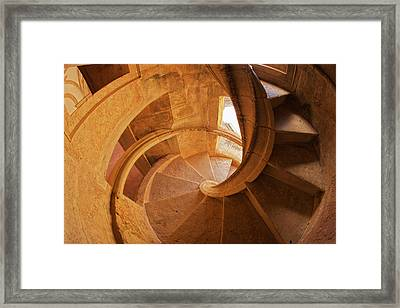 Portugal, Tomar, Spiral Stone Staircase Framed Print by Terry Eggers