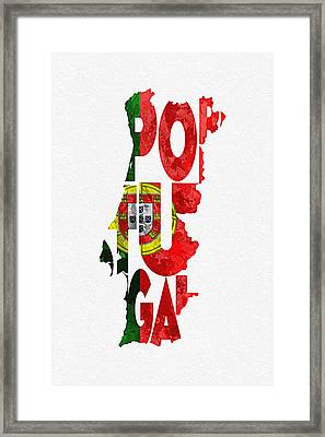 Portugal Typographic Map Flag Framed Print