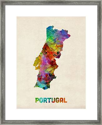 Portugal Watercolor Map Framed Print