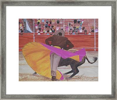 Framed Print featuring the painting Portuguese Bullfighter by Hilda and Jose Garrancho
