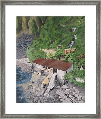 Framed Print featuring the painting Portuguese Sawmill by Hilda and Jose Garrancho