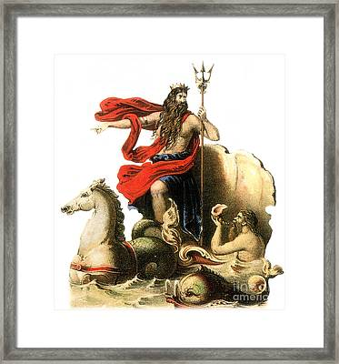 Poseidon, Greek God Of The Sea Framed Print