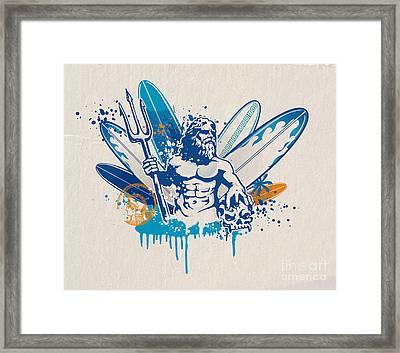 Poseidon Surfer With Skull Framed Print by Domenico Condello