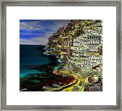 Positano At Night Framed Print by Loredana Messina