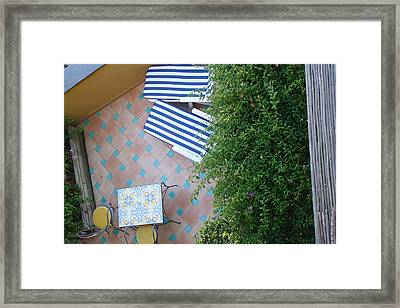 Positano - Balcony View - Lounge Chairs Framed Print by Nora Boghossian