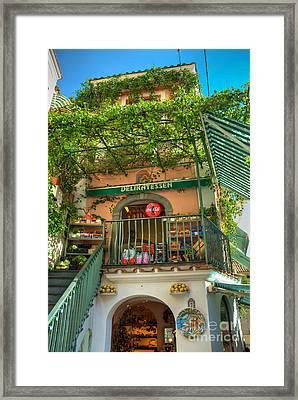 Positano Deli Framed Print by Bob and Nancy Kendrick