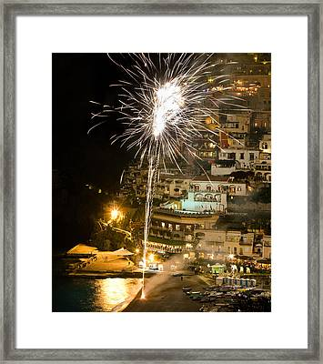 Framed Print featuring the photograph Positano Fireworks - Italy by Carl Amoth