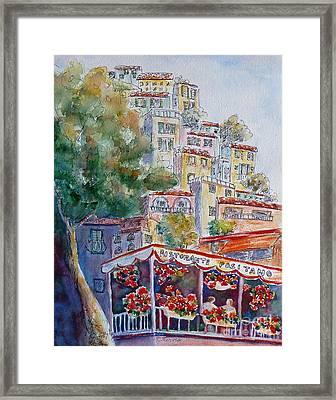 Positano Restaurant Framed Print