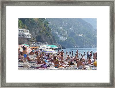 Framed Print featuring the photograph Positano - Sono Tutti In Spiaggia by Nora Boghossian