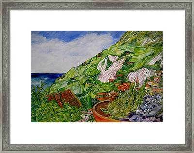 Positano Terrace Framed Print