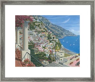 Positano Vista Amalfi Coast Italy Framed Print