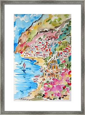 Positano Water Color Framed Print