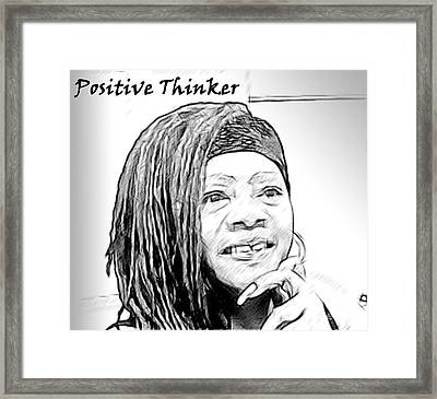 Positive Thinker Blk/wht Framed Print