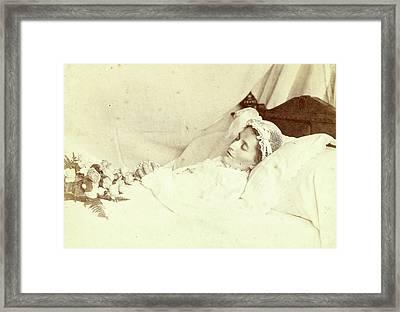 Post Mortem Portrait Of A Deceased Woman She Is Wearing Framed Print by Artokoloro
