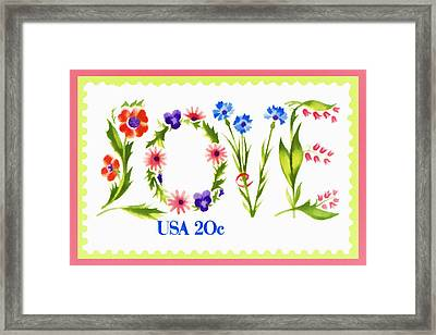 Postage Stamp Love Framed Print