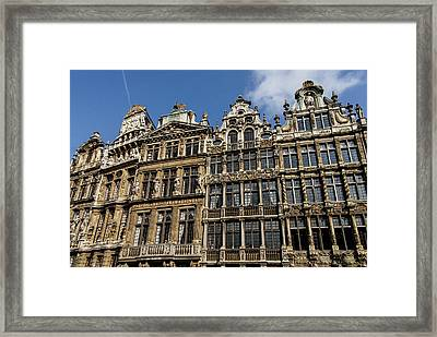 Framed Print featuring the photograph Postcard From Brussels - Grand Place Elegant Facades by Georgia Mizuleva