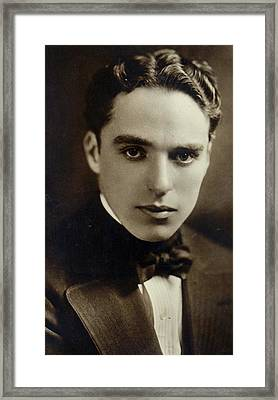 Postcard Of Charlie Chaplin Framed Print