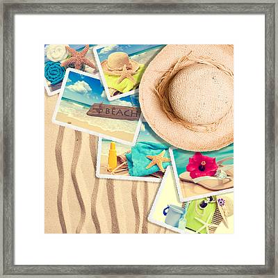 Postcards In The Sand Framed Print by Amanda Elwell