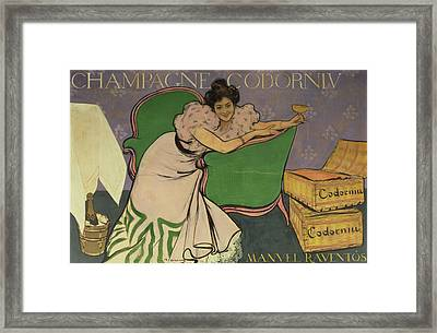 Poster Advertising Codorniu Champagne  Framed Print by Ramon Casas i Carbo