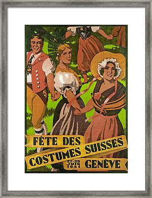 Poster Advertising F?te Des Costumes Framed Print by Jules Courvoisier