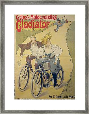 Poster Advertising Gladiator Bicycles And Motorcycles Framed Print