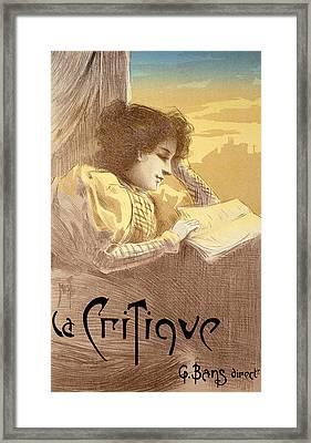 Poster Advertising La Critique Framed Print