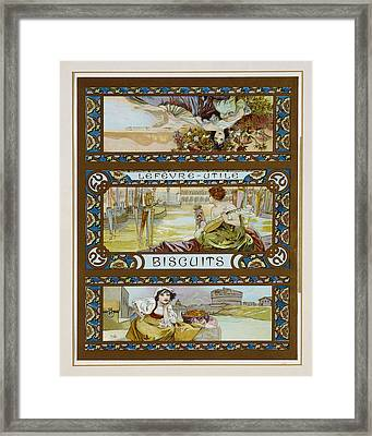 Poster Advertising Lefevre-utile Biscuits, C.1910 Colour Litho Framed Print by Alphonse Marie Mucha