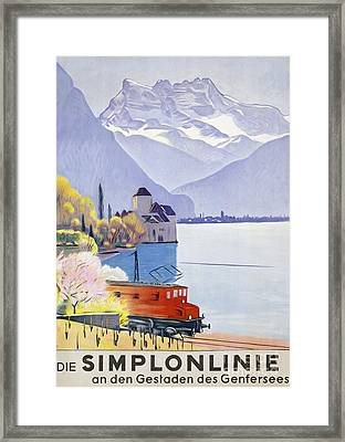 Poster Advertising Rail Travel Around Lake Geneva Framed Print by Emil Cardinaux