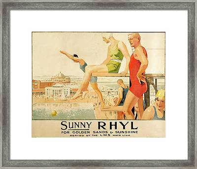 Poster Advertising Sunny Rhyl  Framed Print